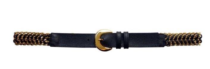 569468076e5 Ceinture Femme en Cuir de Vachette Noir  3 rangs de chaines boucle ...